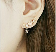 New Shiny Drill Pentagram Star Pendant Earrings