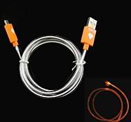 Firefly LED brillante visibile Cilindro di sincronizzazione di dati / ricarica micro cavo USB 2.0 per i dispositivi Android - Orange 100 centimetri