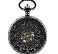 "Men's"" Perspective Hollow Flowers All Black Round Roman Numerals Mechanic Skeleton Pocket Watch"