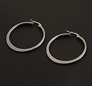 Fashion Simple 3.0CM Flat Shape Silver Stainless Steel Hoop Earrings (1 Pair)