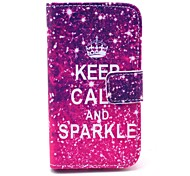 Keep Calm and Sparkle Pattern PU Leather Case with Card Holder for Samsung Galaxy I8160