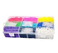 banda de goma telar color del arco iris (2700 pcs bandas + 96 pcs c o s Clips + 1 caja)