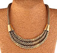 Fashion drei Schichten Zink Gold-Legierung Erklärung Halskette (1 Stk.)