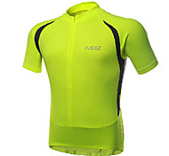 FJQXZ - Elastic Fabric Fluorescent Green Short Sleeve Cycling Jersey
