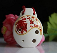 Chinese Traditional Musical Xun Alto C Glaze Red 6 Hole Ceramic Ocarina