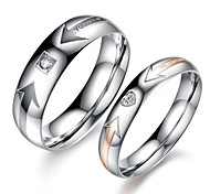 Fashion Beautiful Arrow Lovers Love Set Auger Titanium Steel Ring