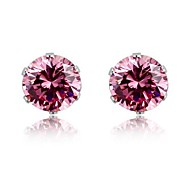 Women 6Mm 316 Stainless Steel Cubic Zirconia Stud Pink Earrings Crystal Ear Stud