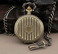 Men's Round Dial Stripes Badge Quartz Analog Pocket Watch