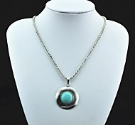 Vintage collana antica Toonykelly ® Silver Turquoise Pendant (Verde) (1 Pc)