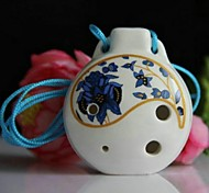 Chinese Traditional Musical Xun Alto C Glaze Blue 6 Hole Ceramic Ocarina
