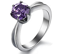 Fashion Stainless Steel Titanium Ring  Jewelry 1.75Ct Elegant 316L Women Amethyst Ring
