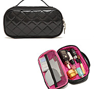 Portable High End Diamond Black PU Clutch Cosmetic Bag Makeup Storage Bag