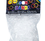Rainbow Colorful Loom Style Transparent Elastic Useful Rubber Band(600 Pcs Bands+24 Pcs C Or S Clips)