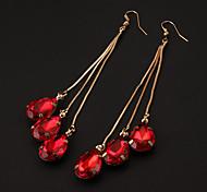 Klassische 6 Kristalle Goldene Alloy Ohrhänger (1 Paar)