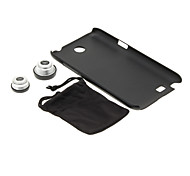 Samsung N7100 Cell Phone Case and Fish Eye Wide Macro Silver Photo Lens in Set