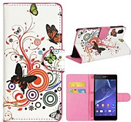 Flowers and Circles Pattern PU Leather Case with Stand and Card Slot for Sony Xperia Z2