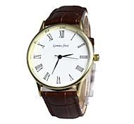 Men's Round Dial Leather Band Quartz Wrist Watch