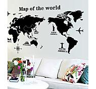 mapa do mundo parede padrão de etiqueta (1pcs)