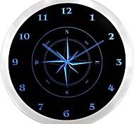 nc0947 Kompass Navigation Leuchtreklame LED Wanduhr