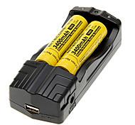 NITECORE NL189 3400mAh 18650 Battery (2pcs)&TrustFire TR-007 Battery Charger&Battery Storage Box
