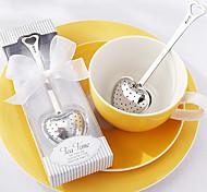 """""""Hora del té"""" infusor de té de acero inoxidable de corazón en elegante caja de regalo blanco, w16.5cm xl5cm"""