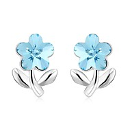 Women's Delicate And Charming Flower Stud Earrings Made with Swarovski Elements