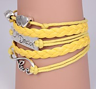leather Charm Bracelets Leather Bracelets Multilayer Alloy Heart and Infinite Charms Handmade Bracel