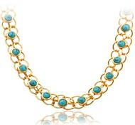 u7® turquoise collier plaqué or 18k réelle turc pierre collier de cadeaux bijoux collier pour les femmes 55cm