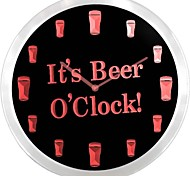 nc0923 It's Beer O'clock Bar Decor Neon Sign LED Wall Clock