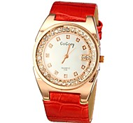 Women's Crystal Case PU Band Quartz Wrist Watch (Assorted Colors)