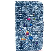 Special Cartoon Pattern PU Leather Case with Card Holder and Stand for Samsung Galaxy I8160