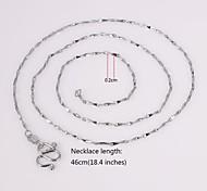 eruner®unisex cadena de lingote de 2 mm collar de cadena de plata no.49