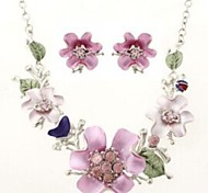 Flower Shape Silver Alloy (Necklaces&Earrings&) Gemstone Jewelry Sets(Multicolor)