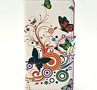 Papillons avec boîtier en plastique dur Motif Fleurs PU cuir pour Huawei G6
