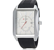 Men's Fashion Square Dial Black Silicone Band Quartz Wrist Watch (Assorted Colors)
