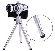 12X staccabile zoom ottico Teleobiettivo con Hard Case e treppiede per iPhone 5/5S