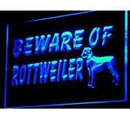 i841 Beware of Rottweiler Dog Pet Neon Light Sign