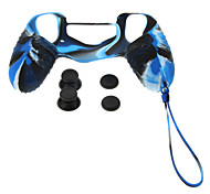 PS4 Protective Silicone Case with Chain + Rocker Silicone Cap + Nonslip Silicone cap Set