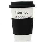 380 ML I am Not a Paper Cup Ceramic Eco Cup Mug Coffee Cup(Black)