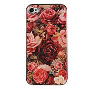 Rose del modello incolla cassa della pelle per iPhone 4/4S
