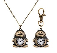 Woman's Penguin Pattern Metallic Necklace Watch/Keychain Watch (1pc)