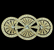 8.1cm Golden Round Flower Brooch Broach Pin with Clear Rhinestone Women Party Accessories