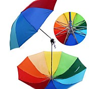 Rainbow Design Non-woven Fabrics And Iron Folding umbrella  (Random Color x 1 PCS)