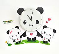 Strange New 3D Wall Paper Wall Clock (the Panda Family)  White Pink