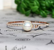 Woman's Simple Design Pearl With Diamond Metallic Bracelet(1pc)