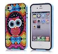 Lovely Owl Pattern Plastic Case with Frame for iPhonne 4/4S