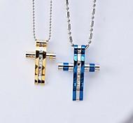 european dicken Quer Titan Stahl paar Anhänger Halskette (Männer blau weibliche Gold) (1 Stück)