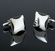 Fashionable 1.5cm Black Silver Toned Man Cufflink  (1pair)