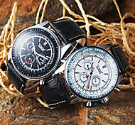 Men's Auto-Mechanical Calibration Design Black Leather Band Wrist Watch (Assorted Colors)