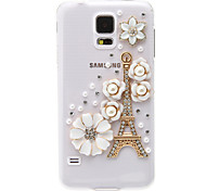 Transparent Pattern Eiffel Tower and Camellias Plastic Hard Back Case Cover for Samsung Galaxy S5 I9600